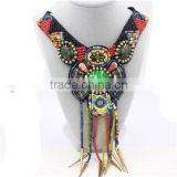 Big bright color bead necklace green crystal tassel bead necklace