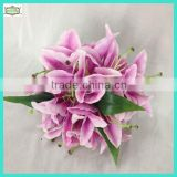 24cm 14 heads hot sale silk artificial tiger lily flower