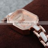 2015 Brand New style square shaped jewellery watch rose gold fancy lady wrist watch chain LD064