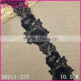 Factory Cheap Black 10.5cm Nylon Embroideried Water Soluble Laces Trim Fabric for Woman Dress Laces