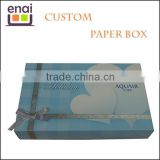 Factory price corrugated rectangle folding paper cake box with silk ribbon