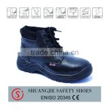 black smooth leather high ankle safety shoes with steel toe and mid plate hot selling in Chile 8066