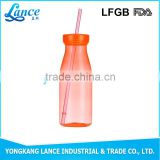 Disposable custom printing plastic drink bottle with straw