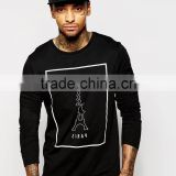 China Manufacturer Factory T-Shirt Production Cotton Fabric Long Sleeve Men Black T-Shirt With Paris Print
