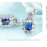 EZ-32 Crystal Micro Paving Brass Material Rhodium Plated Silver Wholesale Big Stone Earrings With Blue Zircon