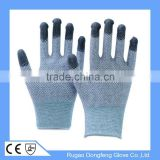 ESD Anti-Static PU Fingertip Coated Carbon Fiber Work Gloves With Anti-Skid Dots On Palm