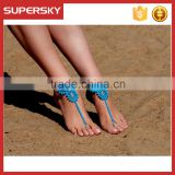 V-986 Crochet Cotton Barefoot Sandals Beach Bridal Foot Jewelry Handmade Bracelet Anklet Chain