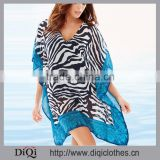 Stylish High Fashion Factory Price Custom Poncho Beach Chiffon Zebra Tunic Cover Up