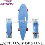 36*9 Inches PU wheels long plastic cruiser cheap fish skateboard with hole