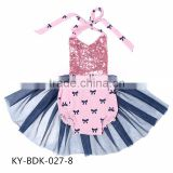 wholesale baby cotton clothing pink fabrice bowknot rompers