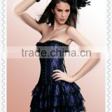 Black Lace Overlay Corset Dress Mateching panties Wholesale