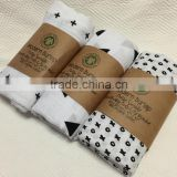 Cheap!Wholesale! Customized swiss cross design woven organic cotton bamboo gauze baby muslin swaddle blanket