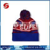 Pom pom beanie hats wholesale blue and red color