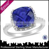 plata 925 cadenas para hombres, blue sapphire color CZ engagement ring silver