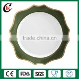 Elegant rimmed gold ceramic charger plate for wedding