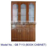 Classic Design Book Cabinet 3 Glass Doors And Drawer Antique Style Bookcase Storage In Wooden MDF