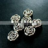 9mm vintage antiqued silver rose flower engraved round flat alloy beads DIY beading supplies 3993013