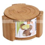 Promotion Logo Drink Coaster Absorbent Cup Pad Round Beer Bamboo Coaster set