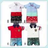 High Quality Children Jumpsuit Short Sleeve Imitation Cowboy Gentleman Rompers Toddle Kid Summer Baby Rompers Baby Clothing
