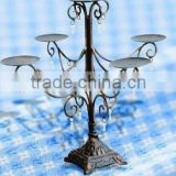 Fujian Anxi Craft candle holder wrought iron tealight holder stand, wholesale antique 5 branch candelabras, metal candle holder