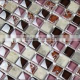 Luxury Wall Flower Mosaic Tile Decoration Gold Color Glass Mosaic Tile 15x15x8, 23x23x6, 25x25x6
