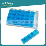 Toprank ABS Plastic Type Travel Pill Medicine Organizer 28 Compartments Portable Pill Dispenser 7 Days Weekly Pill Box