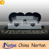 Classical black granite monument double heart shaped headstone western tombstone NTGT-057L