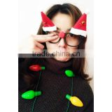 Promotional cheap gift Christmas tree and hat toy design kids lensless fake eye glasses frames