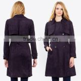 Wholesale Cheap Clothing Coat Made in China Long Sleeve Winter European Fashion Women Flare Faux Suede Trench Coat with Belt
