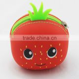 cute Strawberry fruit series rubber TPR cartoon silicone wallet for kids