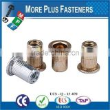 Made in Taiwan Steel Flange Head Strong Brass Antique Threaded Insert Flat Open Head Rivet Nut