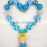 Top Cinderella Necklace Wholesale Girls Princess Chunky Cartoon Character Kids Jewelry Baby Chunky Necklace