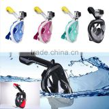 High quality silicone full face diving mask 180 degree snorkel mask snorkel for mask with Gopro mount