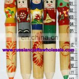 Pencil Wood Hand Painted with Matrioshka Ornament Russian Crafts Ethnic Matryoshkas Folk Art