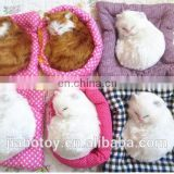 cartoon soft plush toy white cat animated pet fashion sofa bed ,realistic plush toy cat rabbit posed in a realistic stance.