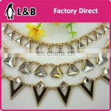 2016 summer design decorative metal gold base rhinestone chain trimmings chain for necklace