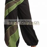 Indian Women Cotton Green Patch Black Color Harem Pants Causal Trouser Yoga Dance Baggy Hippie Genie Boho Casual Pants
