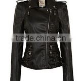 WOMENS SLIMFIT LEATHER BIKER JACKET BROWN COLOR