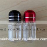 Small ps sex pill bottle/container with aluminum foil cap in red color for capsule shell/red plastic bullet shell