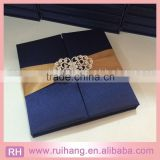 wholesale gift box big crystal luxury navy wedding invitations silk boxes with gold ribbon