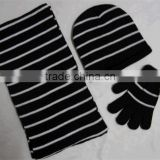 Black stripe knitting set custom acrylic winter knitted hat scarf
