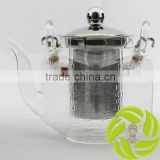 Super bamboo handle teapot stainless steel lid and filter heat resistant glass tea kettle 800ml glass teapot