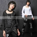 Black Square Collar Long Sleeves Cotton Lolita T-shirt 61181