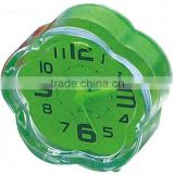 Promotions gift,Mini Desk clock, pastic flower shape table alarm clock bedside clock
