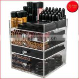 Cheap Diamond Knob 4 Drawers Acrylic Makeup Organizer Cube clear acrylic storage boxes
