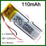 Rechargeable 3.7V 401230 110mah Li-ion Polymer battery                                                                         Quality Choice