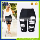 Personality hole pants trend stretch Slim black jeans shorts