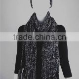 Girls Winter/Fall China factory Acrylic Knitted Hats and Scarves sets with Fringe