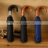 3 fold auto open /close umbrellas for man High quality Curve wooden handle pongee foldable umbrella,customized strong umbrella