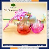 Factory direct lovely cat pattern/design all kinds of colour hanging car glass bottle with wooden cap and chinese knot